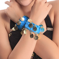 band ankle bracelets - 1 Pair Belly Dance Chiffon Wrist Band Ankle Cuff Bracelet Coins Band Colors