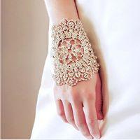 armlets - Hot sale Bridal Bracelet clear crystal hand cuff multi fuction rhinestone bridal Armlets wedding accessories XI10
