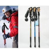 aluminium walking sticks - High quality Professional section Aluminium adjustable alpenstock antishock walking hiking climbing stick trekking pole