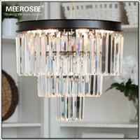 Al por mayor-cristal de la vendimia francesa de la lámpara del accesorio ligero Negro Cottage blanco americano Lámpara de suspensión de luz para colgar Comedor
