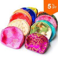 Wholesale 30 Women Handbag New Fashion Purse Female Jewelry Gift Chinese Silk Pouch Wallet Coin Purse Random Color Bag EG12