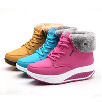 Cheap Wholesale-Fall Winter Women's Snow Boots Cotton-Padded plus velvet Warm shoes platform Women Boots high heel wedge fashion women