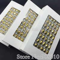 Wholesale High Quality box x18mm Teardrop Sew On Rhinestones Gold Hematite Color Droplet Sewing Glass Crystals Dress Making