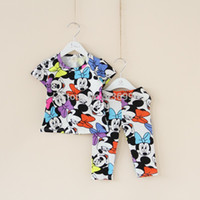 Cheap baby girls clothing Three kinds of color summer style kids pajamas set cartoon sky blue girls kids clothes sets free shipping