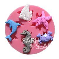 baked crab cakes - M0191 marine animals dolphin starfish crab cake molds soap chocolate mould kitchen baking cake tool DIY