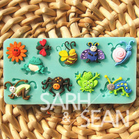 bee spider - 3D M0068 beetle snail spider frog bee grasshopper ladybug insect fondant cake molds soap chocolate mould for the kitchen baking