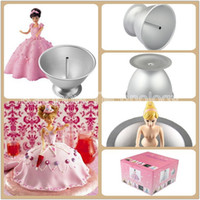 aluminium cake pans - Aluminium Baking Pan Barbie Doll Cake Mould Princess Skirt Birthday Cake Forms De Bolo Bobbi Fondant Cake Decorating Tool W Box