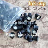 Wholesale 100pcs Black Permanent Makeup Pen Machine Ink Holders Caps With Sponge Supply For Pigment Ink