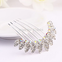 Wholesale X8cm Fashion Luxury Metal Silver Crest Crown Shpaed Rhinestone Wedding Hair Comb Bridal Comb For Party Hair Accessories