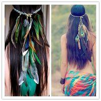 Wholesale Bird Feather Headband Native American Indian Hippie headband Hair Jewelry