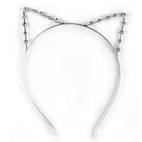 achat en gros de mignon cosplay fille-Gros-Nouvellement DesignFashion Mignon Accessoire Cosplay Party Punk strass Crystal Cat Ear Hair Band Headband Sweet Girl Women