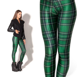 2016 Black Milk Leggings Women Legging Pants Tartan Green Leggings Fitness Clothing For Women Plus Size