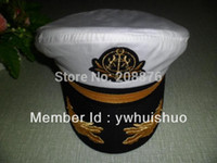 admiral hats - Top quality cotton embroidery Sailor Ship Boat Captain Hat Navy Marins Admiral Adjustable Cap White Seaman cap