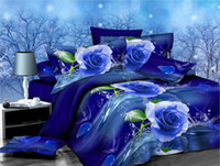 king size bedspreads - Newest D Coquettish Blue Rose Bedding Set Duvet Cover Quilt Cover Bedspread Bed Sheet Pillowcase Bedclothes King Size