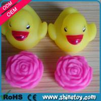 bath duck led - floating rubber mini ducks baby waterproof bath toys light led rose flower classic toys souvenirs baby shower boy girl