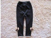 autumn cashmere jeans - girls bow jeans cotton children cashmere pants kids warm elastic waist legging and retail