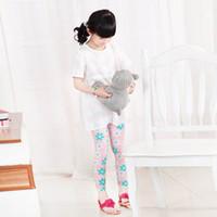 Wholesale Baby Kids Girls Colorful Floral Trousers Stretch Leggings Milk Fiber Skinny Legging Pants Y