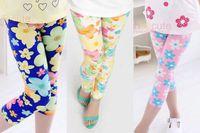 Wholesale New Summer Cuhk children Girls Colorful Floral printing milk Silk Pants Leggings