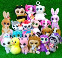 achat en gros de plush rabbit toy-Gros-Ty huées Beanie jouet en peluche poupée Lapin Chien singe éléphant tellement styles 5Pcs / Set grands yeux doux animaux