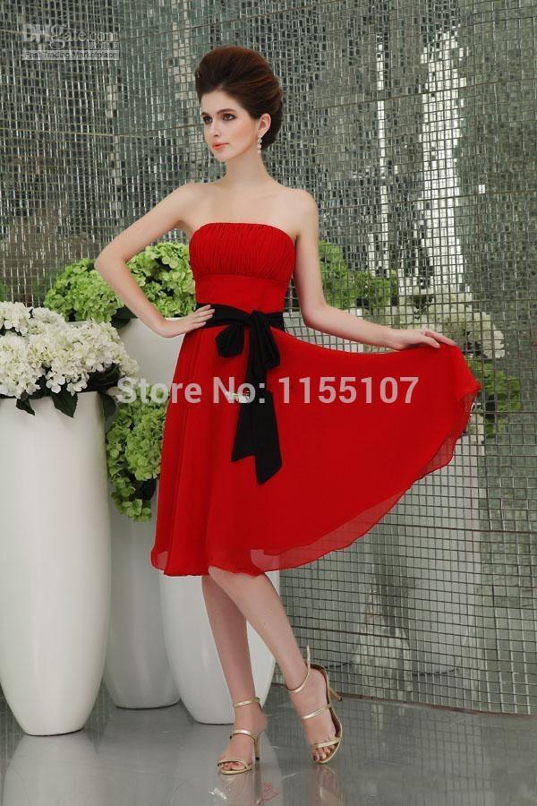 Wholesale Short Chiffon Beach Bridesmaid Dresses White Red Purple