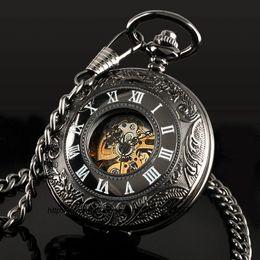 Wholesale Classic Steampunk Roman Dial Mechanical Skeleton Steel Mens Black Windup Pocket Watch
