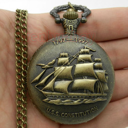 Wholesale-Vintage Steampunk Antique Bronze Sailing Canvas Boat Ship Necklace Chain Quartz Pendant Pocket Watch Gift P77