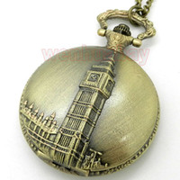 ben necklace - Vintaeg Antique Bronze Big Ben London Quartz Men Pocket Watch Chain Necklace Pendant Gift P82