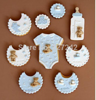 baby bottle cookie - Baby Sets Cookie Cutters Metal mold Kids favorite shirt bottle Apron ball pieces SC241