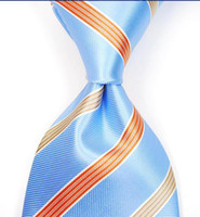 Wholesale Man s slim tie stripes neck tie skinny ties silk ties pins Necktie men ties blue H