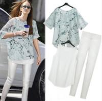 Cheap Wholesale-Hot Sale High Quality 2015 crop top and skirt set for women Autumn vest slit chiffon Pants casual blouse three piece suit woman