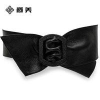 Wholesale Pure high grade leather Ladies Black wide leather belt waist bow dress ultra wide belt