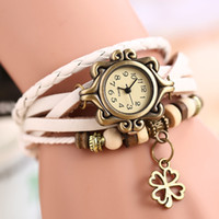 converse leather - Retro Leather Bracelet Watch Leaves Pendant Watches Vine Hand Knit Decoration Wristwatch Converse All Star Women Dress Clock