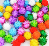 ball confetti - mix color mm glitter pompom confetti Craft DIY balls soft fluffy pompoms with metallic yarn