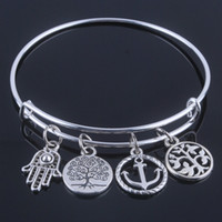 Wholesale Hot sale diameter mm bracelets bangles Alex and ani bracelets silver bangle with anchor life trees charms jewelry for women