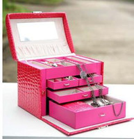 big lock box - Real Cosmetic Bags Organizador Korean Princess Jewelry Box with Lock Velvet Double Hand Bracelet Large Capacity Storage Big