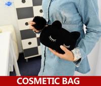 Cheap Wholesale-3pcs   lot , Soft plush kitten makeup bag for lady , women kawaii cat cosmetic bag