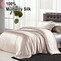 silk bedding - 6 Color Solid mulberry Silk home textile king queen bedding set silk Fitted sheet quilt cover bedding sets sleep spa