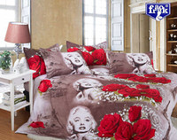 Cheap Free shipping Marilyn Monroe 3d bedding set red rose flower fitted sheet bed set linen bedclothes duvet cover bedding-set