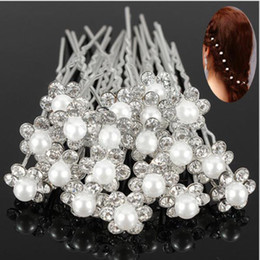 Wholesale x Cheap Worth Wedding Bridal Crystal Rhinestone Pearl Flower Hair Pin Clips