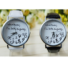 Wholesale Feitong Fashion Hot Unisex Casual Style PU Leather Watch Wathever I am Late Anyway Letter Watch For Men amp Women Free