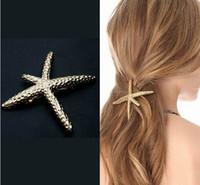 Wholesale Korea Newest Design Exquisite Metal Hair Clips Super Satr Starfish Satement Hairpins Hairwear Accessories Fashion Jewelry