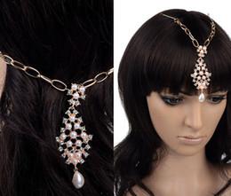 Descuento las cabezas de flor clips Flor de la perla-chic al por mayor de oro de la manera de gota cristalinos de la pinza de pelo de la joyería Bindi Tikka Indian Head
