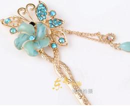 Wholesale-Free ship 9cm E96 Crystal flower girl hair Sticks love rose wedding haipins rhinestone women bridal hair bands tiara jewelry