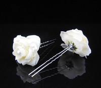 Wholesale women white fabric camellia flower hair stick wedding bridal U shape hair accessories bride bridal crystal rhinestone hair pin