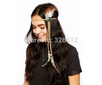 american indian navajo - Indian Turquoise Bead Leather Crown Feather Navajo Zuni Native American Head Hair Dress Band Tie Jewelry Party