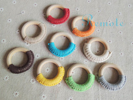Wholesale Crochet Nursing Toys Wholesale - Wholesale-9 colors to choose Nursing Toy - 100% cotton cord Crochet Ring - Wooden Teething Ring for Baby NT062