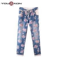 big ladies jeans - YouAxon Female Ladies Casual Loose Big Plus Size True Jeans Floral Print Trousers Cotton Blue Denim Pants for Women a Jean