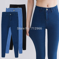 american apparel coat - 2015 New Arrival Hot Sale High Waisted Skinny Jeans Pants American Apparel Cotton Ultra Elastic Womens Long Casual Denim Jeans