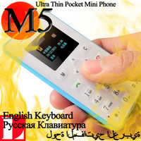 Cheap Wholesale-Russian or Arabic or English keyboard AEKU M5 Hot Card Phone 4.5mm Ultra Thin AIEK M5 Card Cell Phone GSM Low Radiation
