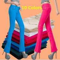 Wholesale Candy Color Boot Cut Pants Women Female Korean Stretchy Jeans Ladies Slim Fit Sexy Skinny Trousers Plus Size